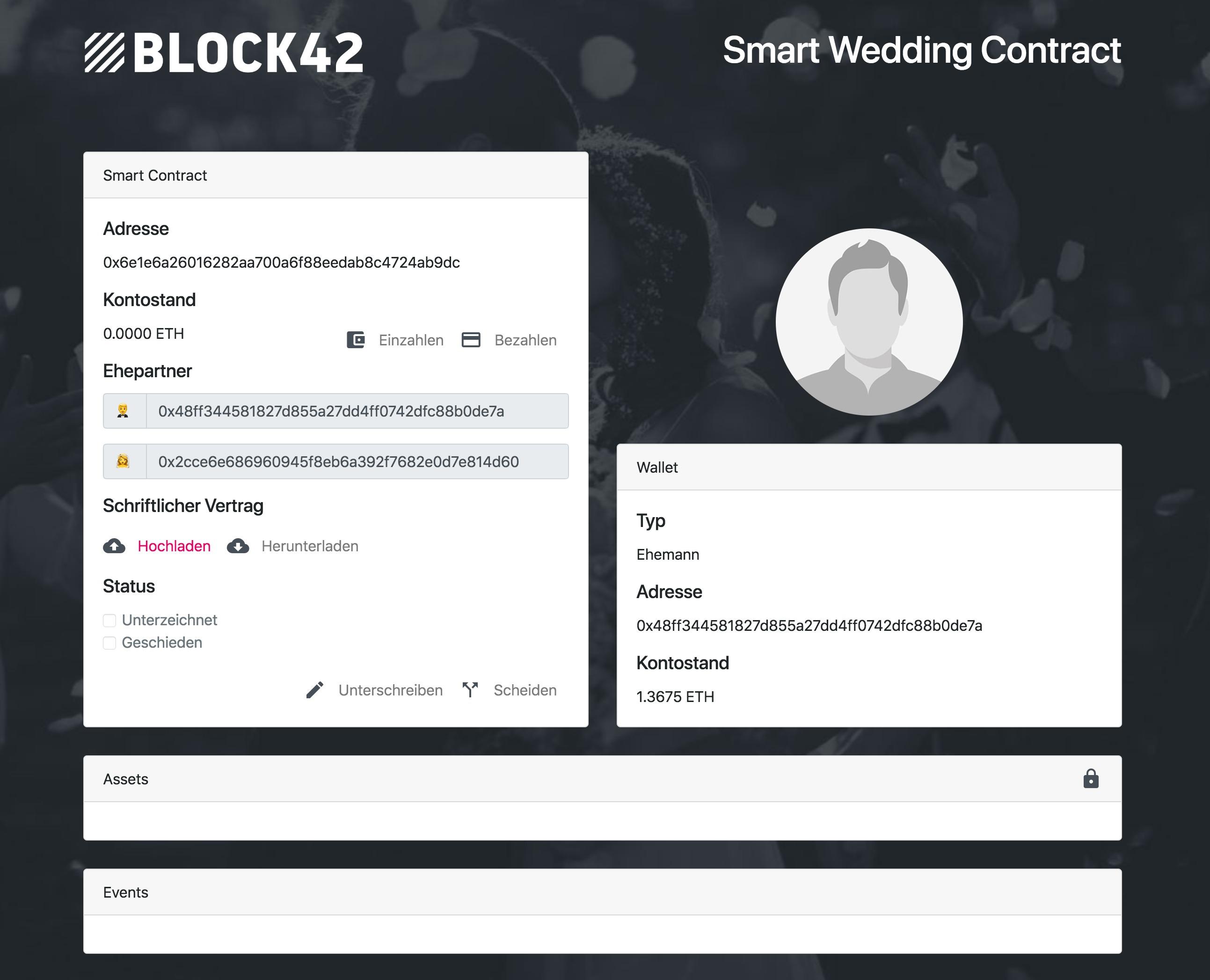 So sieht der digitale Ehevertrag mit Blockchain-Anbindung aus © Block42