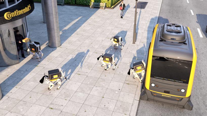 Roboter-Hunde als Paketboten © Continental
