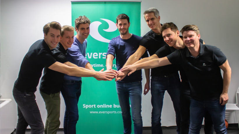 Philipp Braunsberger (CFO Eversports), Emanuel Steininger (VP of Engineering Eversports), Vincent van den Tol (CPO Fitmanager), Maarten Borgers (CEO Fitmanager), Hanno Lippitsch (CEO Eversports), Stefan Feirer (CPO), Thomas Fritz (CTO). © Eversports
