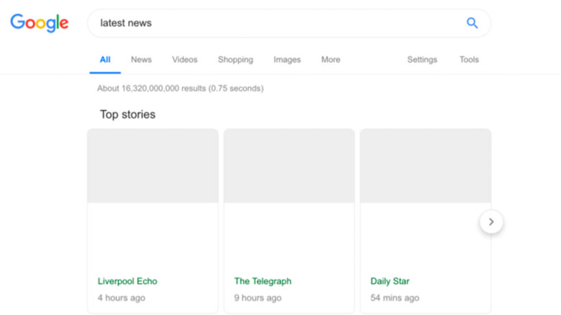 Gähnende Leere in Google News © Google via Search Engine Land