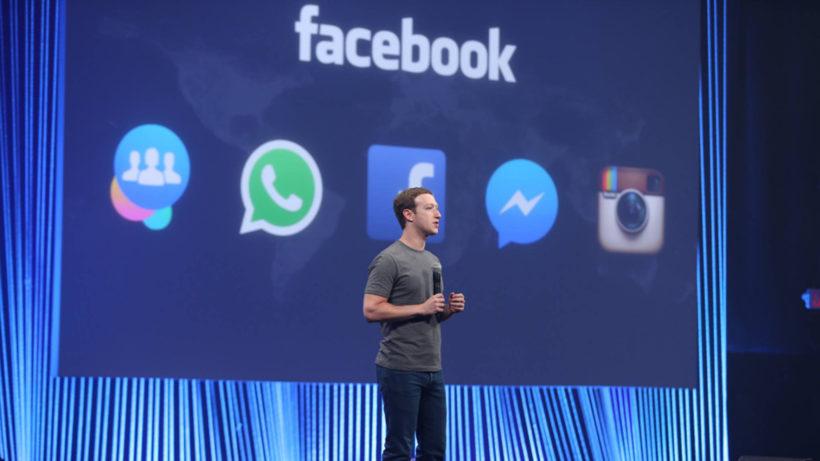 Mark Zuckerberg und seine App-Familie. © Facebook