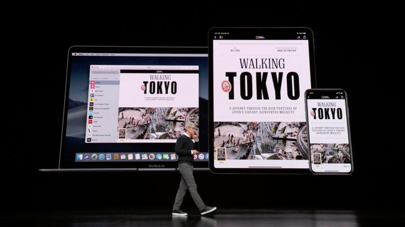 Apple-Chef Tom Cook präsentiert Apple News+. © Apple
