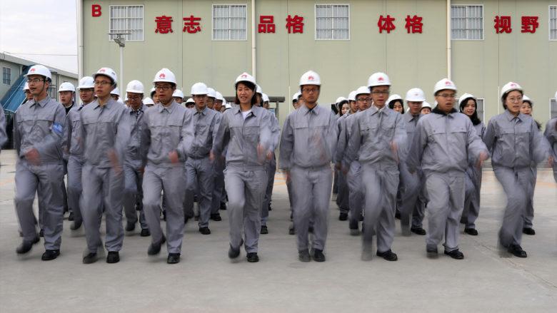 Mitarbeiter beim Morgentraining in Songhsan Lake. © Huawei