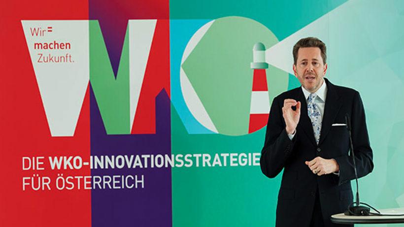 WKÖ-Präsident Harald Mahrer bei der Präsentation der Innovationsstrategie in Wien. © WKÖ