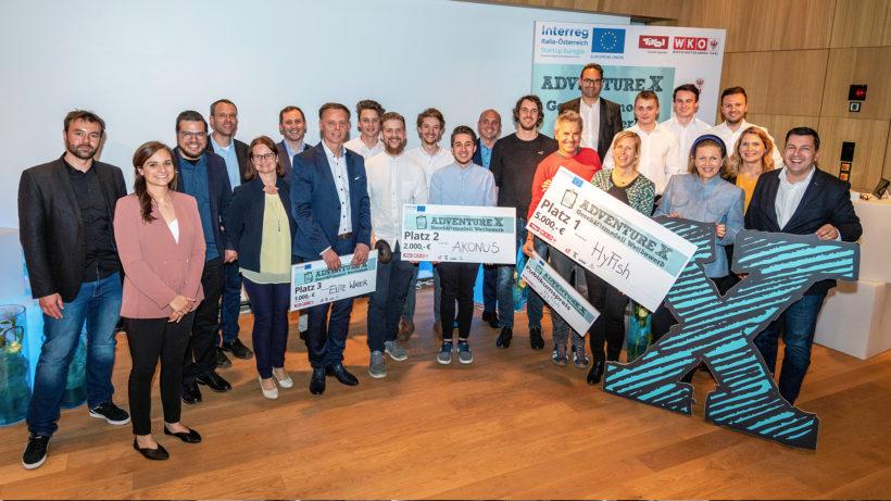 Von 43 teilnehmenden Teams schafften es Akonus, BeKind, Elite Water, HyFish, Pbiotec und TapGet ins Tirol-Finale des adventure X 2019. © Standortagentur Tirol