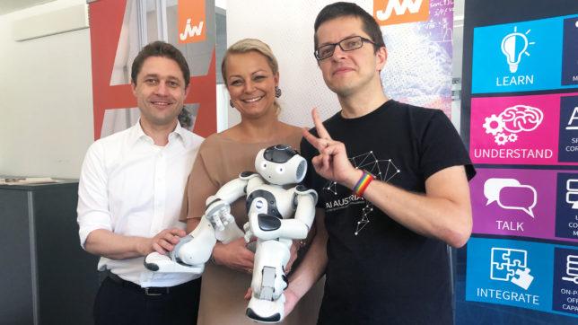 Andreas Rath (Ondewo), Christiane Holzinger (Junge Wirtschaft) und Clemens Wasner (AI Austria). © Trending Topics