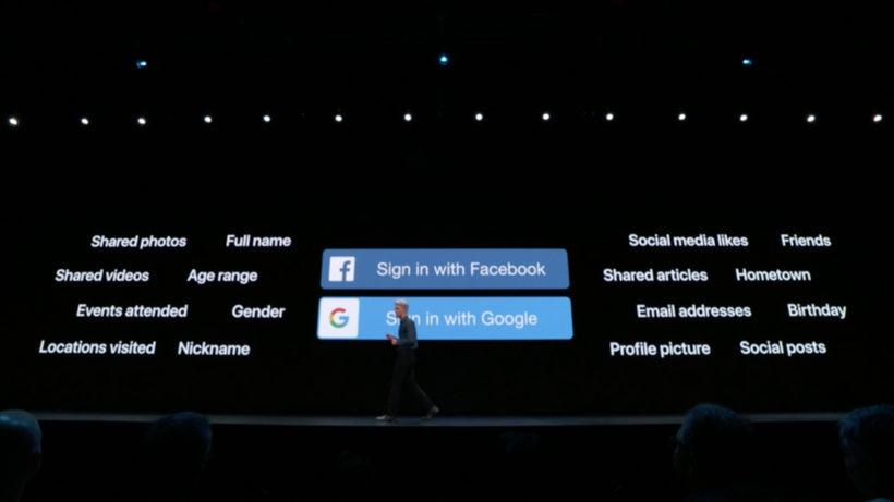Präsentation des Apple-Logins als Alternative zu Google und Facebook. © Apple