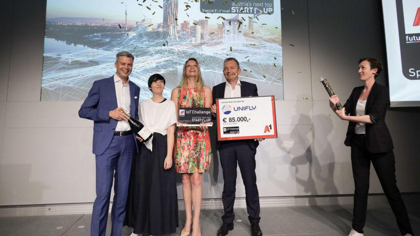 Thomas Arnoldner, CEO A1 Telekom Austria, Claudia Zettel, Chefredakteurin Futurezone, Ellen Malfliet, Chief Marketing Officer von Unifly, Macus Grausam, CEO A1. © A1