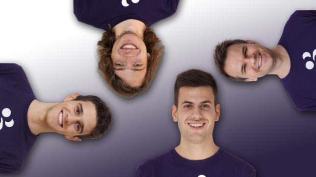 Das Coinpanion-Team: Alexander Valtingojer (u.), Vladimir Kornilov/r.), Matthias Zandanel (l.) und Aaron Penn (o.). © Coinpanion, Montage Trending Topics