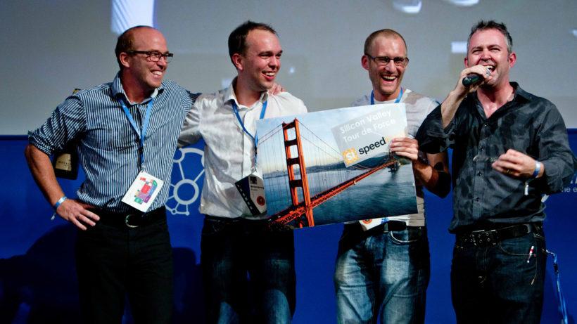 mySugr-Gründer auf der Bühne der Startup Week 2011. © Luis U. Kentzler