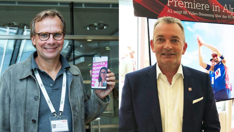 Magenta-Chef Andreas Bierwirth und A1-Österreich-CEO Marcus Grausam. © Magenta Telekom / Trending Topics