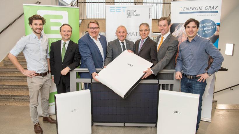 Christoph Grimmer (EET), Peter Trummer (Vertrieb Energie Steiermark), Martin Graf und Christian Purrer (Vorstand Energie Steiermark), Boris Papousek und Werner Ressi (GF Energie Graz) und Stephan Weinberger (EET). © Foto Fischer
