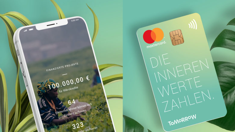 Die Tomorrow-App kommt mit Visa-Karte. © Tomorrow
