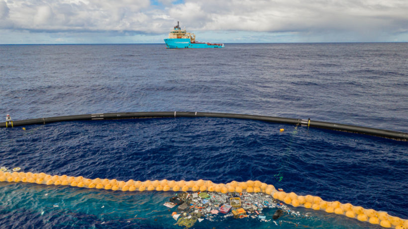 Das System 001/B von The Ocean Cleanup im Einsatz © The Ocean Cleanup