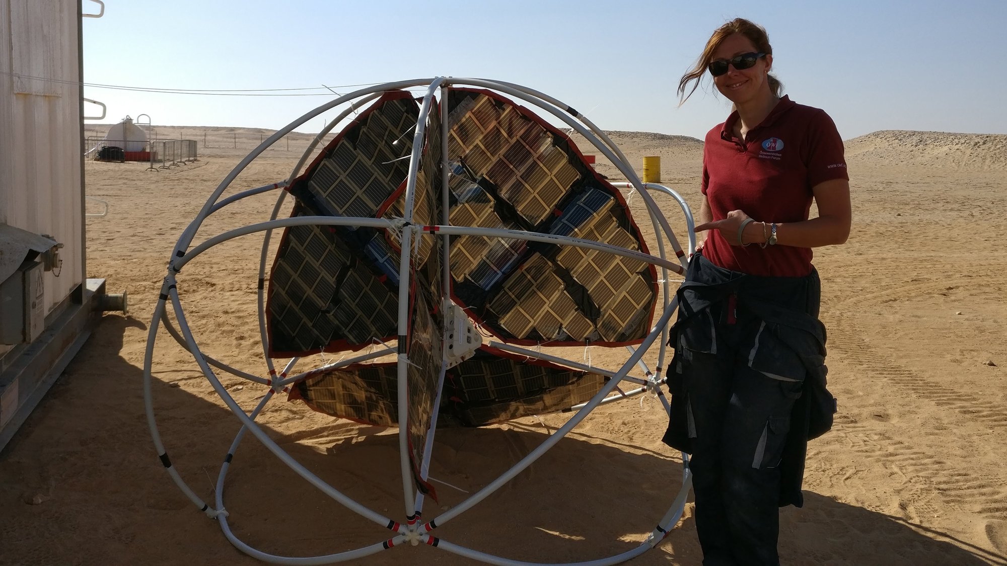 Der erste Tumbleweed-Prototyp beim Test im Oman © Österreichisches Weltraumforum
