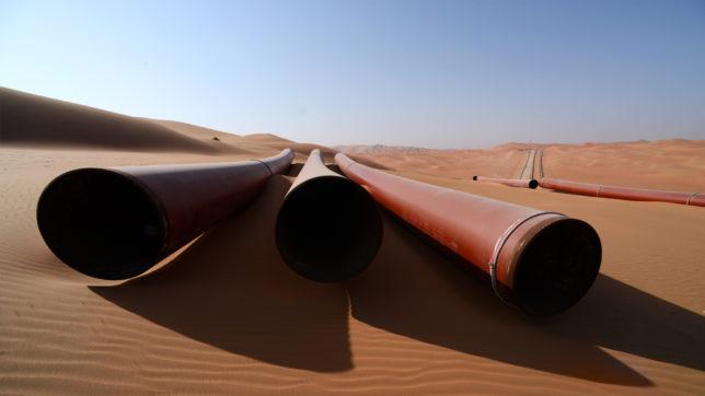 Pipelines am Shaybah-Feld am nördlichen Rand der Wüste Empty Quarter in Saudi-Arabien. © saudi Aramco