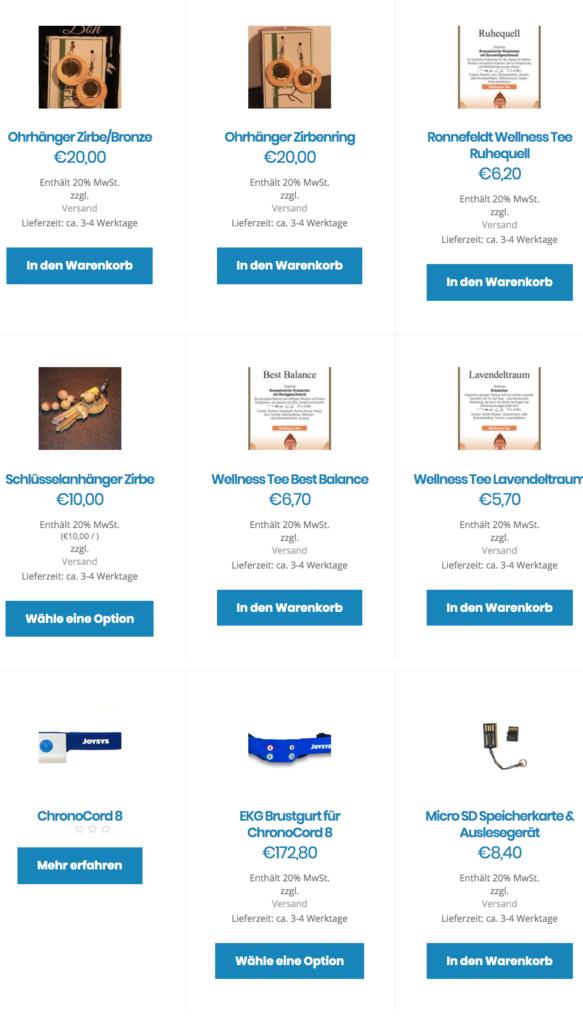 Der Online-Shop von Joysys. @ Screenshot