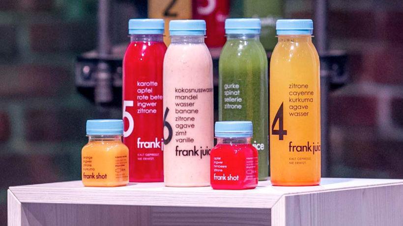 Die Saftflaschen von Frank Juice. © Puls 4/Gerry Franke