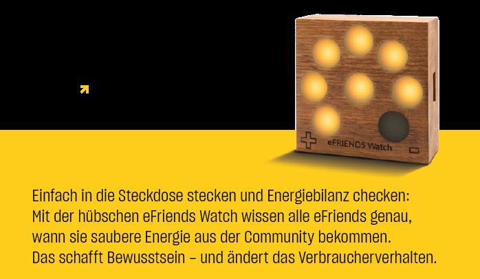 Keine Uhr, sondern eine Anzeige. Die eFriends Watch und die eFriends App sind inkludiert. © eFriends