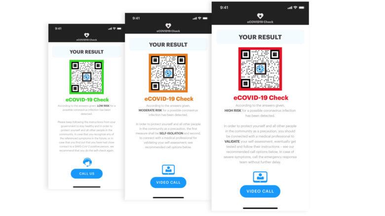 Ampelsystem und anonymer QR Benutzercode in der eCOVID19-App. © Scarletred