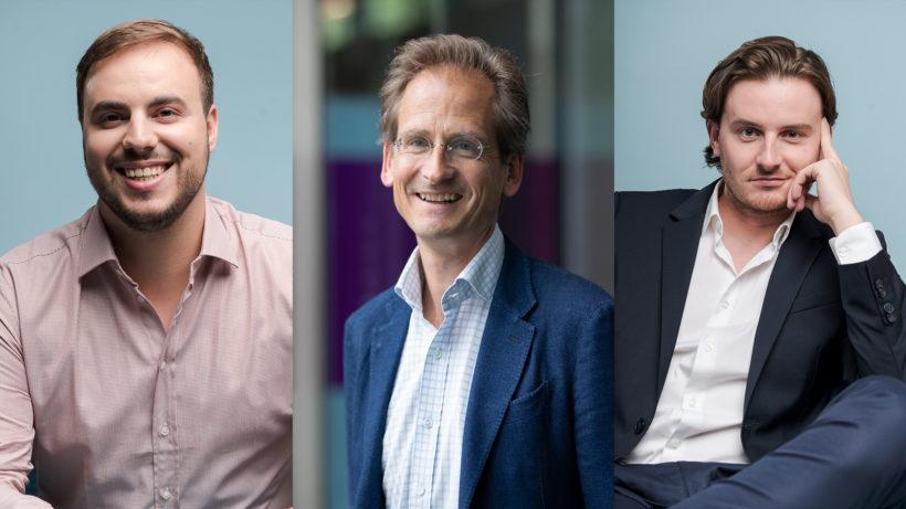 Paul Klanschek (Bitpanda), Stefan Klestil (Speedinvest) und Eric Demuth (Bitpanda). © Bitpanda, Speedinvest, Montage Trending Topics