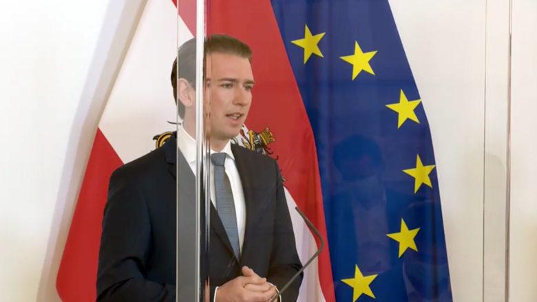 Bundeskanzler Kurz hinter Plexiglas. © BKA/ Screenshot
