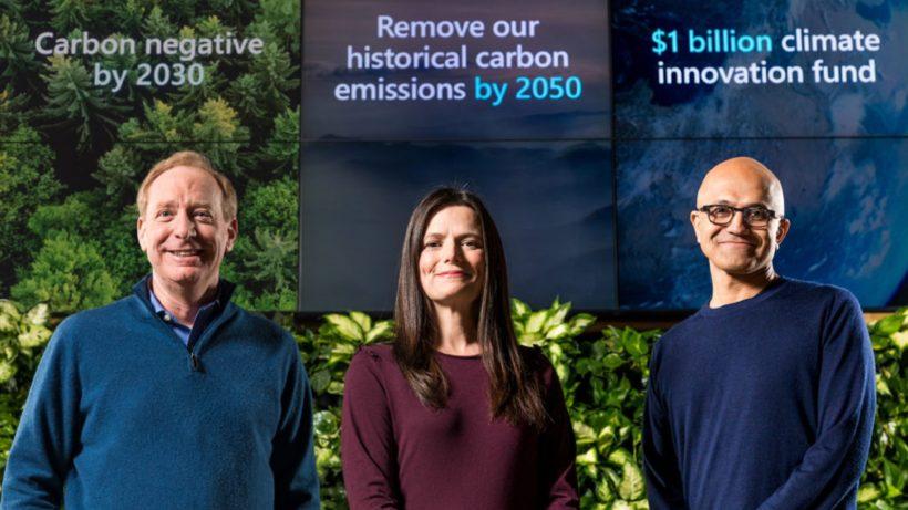 Microsoft-Präsident Brad Smith, Chief Financial Officer Amy Hood und CEO Satya Nadellar. © Microsoft