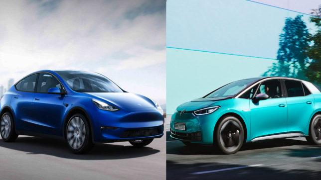 Tesla Model 3 vs. VW ID.3. © Tesla, Volkswagen / Montage Trending Topics