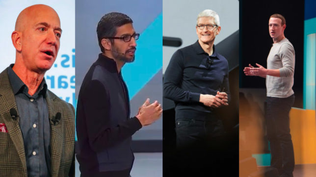 Die CEOs von GAFA. © Amazon, Google, Apple & Facebook, Montage Trending Topics
