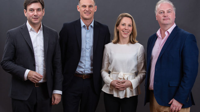 Russell E. Perry (Gründer & CEO), Andrew Bunce (Chief Product Officer), Johanna Konrad (Chief Operating Officer) und Peter Bainbridge-Clayton (Gründer & CTO) von kompany. © kompany