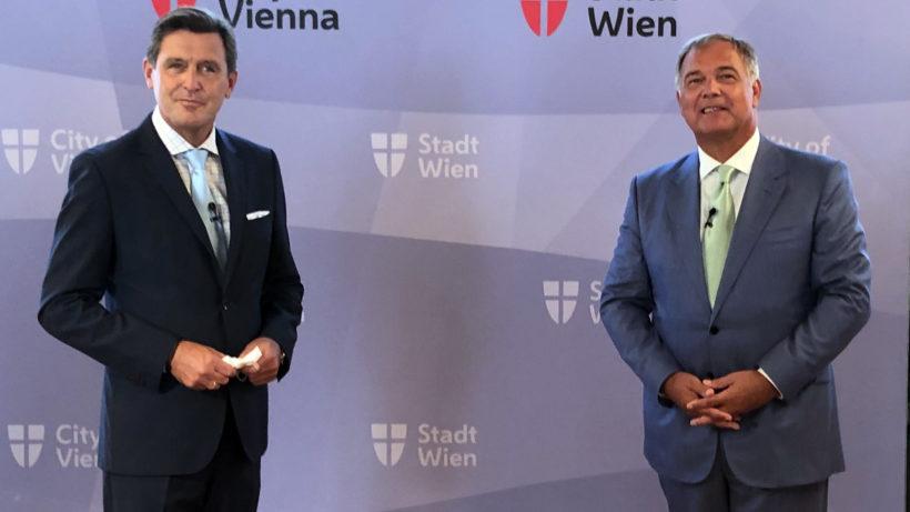 Wirtschaftsstadtrat Peter Hanke und Walter Ruck, Präsident der Wirtschaftskammer Wien. © Stadt Wien