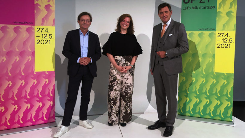 Gerhard Hirczi (Vienna Business Agency), Lisa Fassl (Female Founders) und Peter Hanke (StadtWien). © Trending Topics