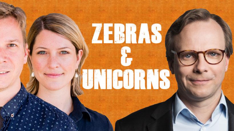 """Jakob Steinschaden & Sara Grasel von """"Zebras & Unicorns"""" und Andreas Bierwirth, CEO Magenta Telekom. © Trending Topics, Magenta Telekom / Montage Trending Topics"""