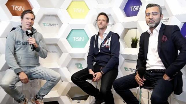 Jakob Steinschaden (Trending Topics) mit den Business Angels Gernot Singer und Zaid Al Aifari. © Trending Topics