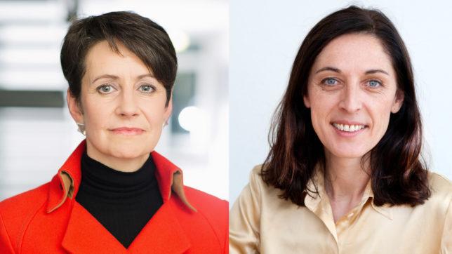 Sabine Herlitschka, Vorstandsvorsitzende der Infineon Technologies Austria AG, und Klara Sekanina, Direktorin der Schweizerischen Studienstiftung. © Rat-FTE