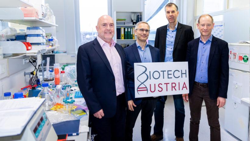 Peter Llewellyn-Davies (CEO APEIRON Biologics AG), Georg Casari (CEO HAPLOGEN GmbH), Reinhard Kandera (CFO HOOKIPA Pharma Inc.) und Alexander Seitz (CEO und Gründer Lexogen GmbH). © Biotech Austria/Martin Steiger