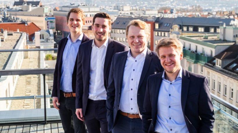 Die Founder von Boomerank: Robert Böhm (CTO), Sebastian Schwelle (CEO), Walter Sagmeister (Head of Sales), Benjamin Pazdernik (Head of Product). © Boomerank