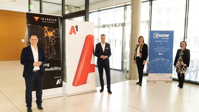 Michael Cik, Founder und CSO von Invenium, A1 Group CEO Thomas Arnoldner, Barbara Eibinger-Miedl, Wirtschafts- und Forschungslandesrätin Steiermark, Stefanie Lindstaedt, CEO Know-Center. © A1 Telekom Austria