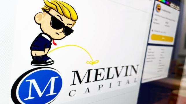 reddit-Maskottchen uriniert virtuell auf Logo von Melvin Capital. © Trending Topics