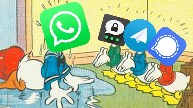 © Wikipedia / Logos WhatsApp/Signal/Trhreema/Telegram/ Montage Trending Topics