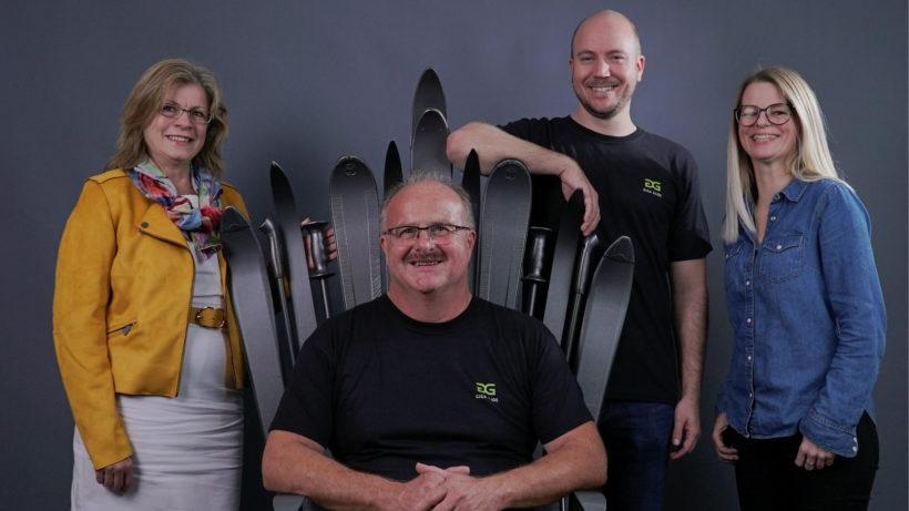 Jaqueline Kummerer, Robert Kummerer, Andreas Kalteis und die Geschäftsführerin Melanie Katzmayr von GigaGlide. © GigaGlide