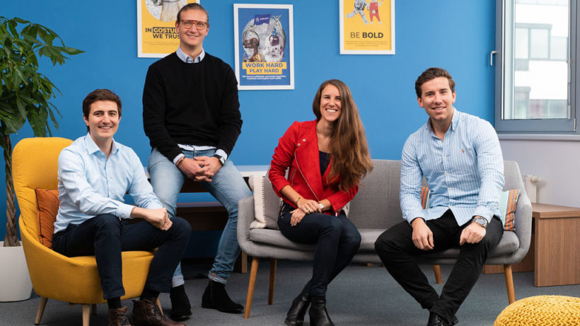 Alfons Priessner, Chief of Staff, Felix Ohswald, CEO & Co-Founder, Laura Warnier, Chief Growth Officer, und Gregor Müller, COO Co-Founder von GoStudent. © GoStudent