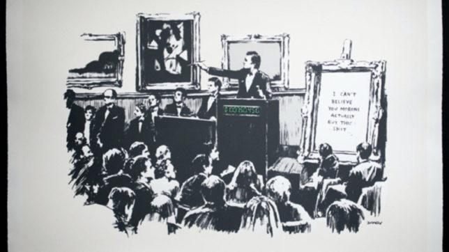 """Das Banksy-Gemälde """"Morons"""", erworben und digitalisiert von Injective Protocol. © Banksy"""