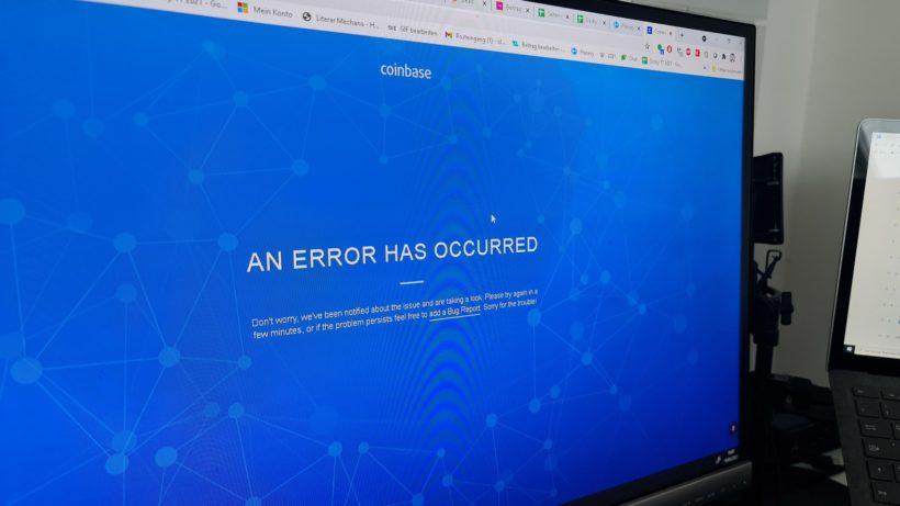 Error bei Coinbase. © Trending Topics