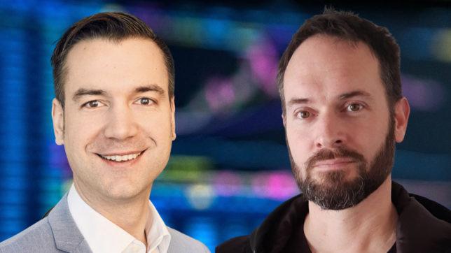 Matthias Reder (Coinfinity) und Johannes Grill (Bitcoin Austria). © J. Grill / M. Reder / André François McKenzie on Unsplash / Montage: Canva