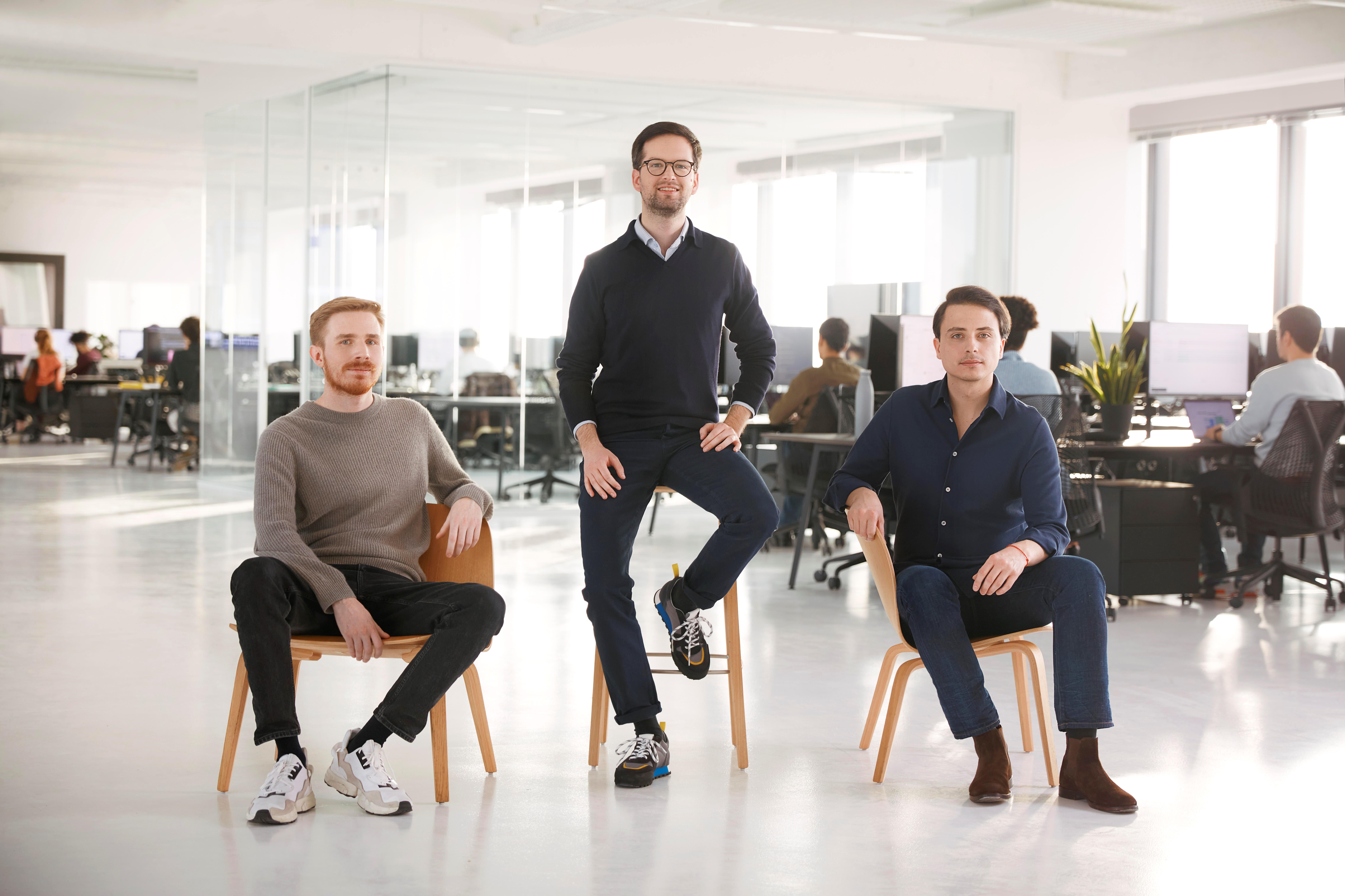 Die Trade Republic-Gründer Marco Cancellieri, Thomas Pischke und Christian Hecker. © Trade Republic