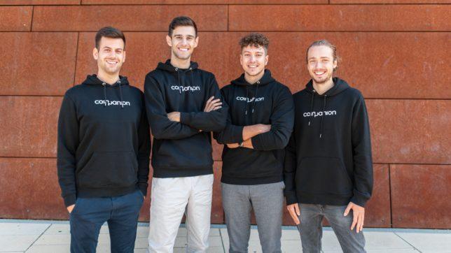 Das Coinpanion-Gründer-Team: Alexander Valtingojer (CEO), Matthias Zandanel (CTO), Saad J. Wohlgenannt (CMO), Aaron Penn (Lead Developer) © Olga Kretsch