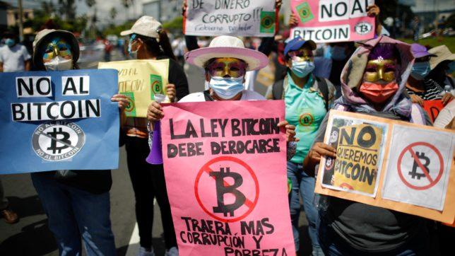 Proteste gegen Bitcoin-Einführung in El Salvador. © Radar 2021