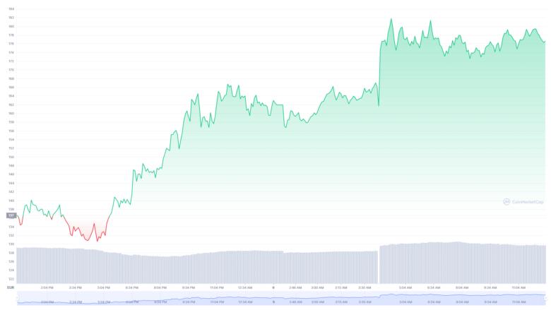 Der Solana-Chart der letzten24 Stunden. © CoinMarketCap